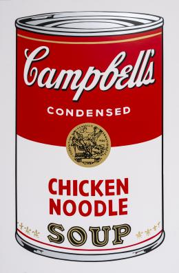 "13  -  <p><span class=""description"">Andy Warhol. Campbell's Chicken Noodle Soup, 2018 </span></p>"