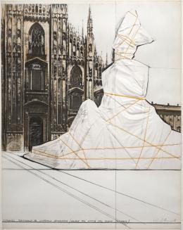 "45  -  <p><span class=""description"">Christo Vladimirov Javacheff. Wrapped monument to Vittorio Emanuele (Project for plaza del duomo, Milano), 1975 </span></p>"